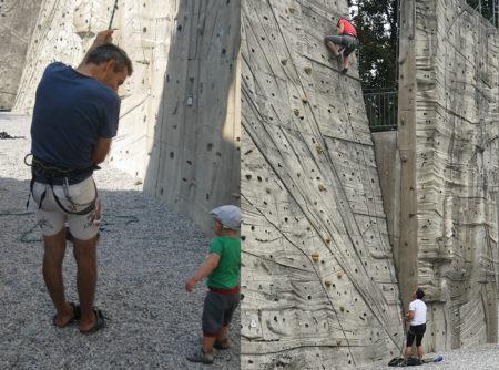 Klettern an den Stützwänden mit strukturiertem Beton