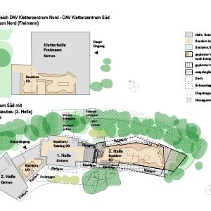 Größenvergleich Kletterzentrum Nord / Süd mit geplantem Neubau