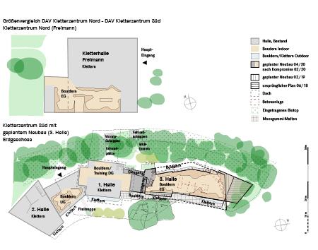 3 Größenvergleich Kletterzentrum Nord / Süd mit geplantem Neubau