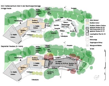 4 Vergleich Freianlage heute / geplanter Neubau