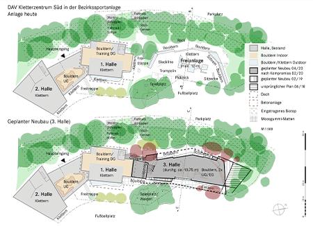 Pläne Boulderhalle Bauantrag Februar 2019, S. 1, Vergleich Anlage heute, geplanter Neubau - DAV Kletterzentrum Süd