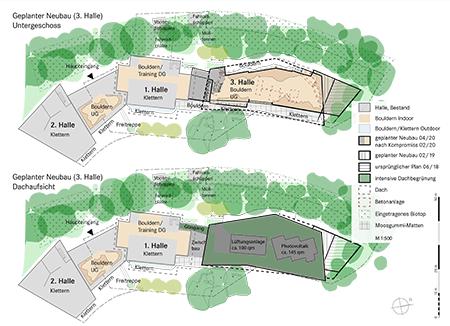 Pläne Boulderhalle Bauantrag Februar 2019, S. 3, Grundriss Untergeschoss, Dachaufsicht der geplanten Boulderhalle - DAV Kletterzentrum Süd